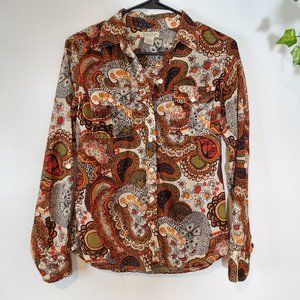 Lucky Brand 100% Cotton Paisley ButtonUp Top